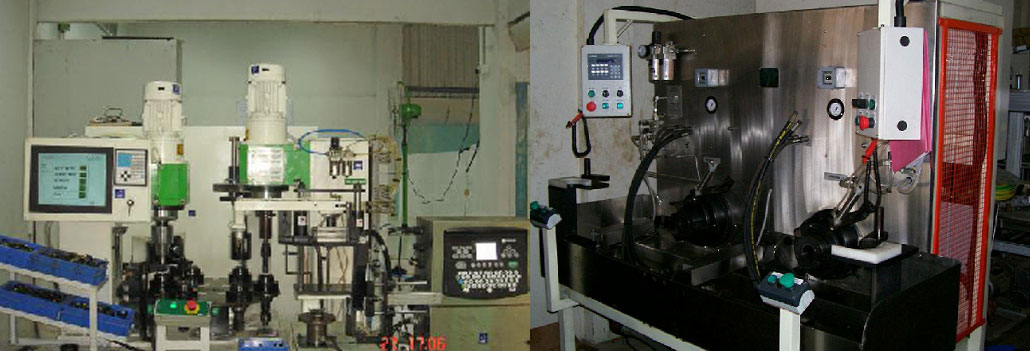 6 station indexing machine & Twin spindle flushing machine